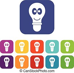 Smiling light bulb with eyes icons set flat