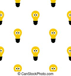 Smiling light bulb with eyes pattern flat