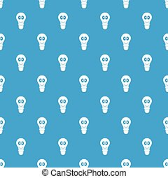 Smiling light bulb with eyes pattern seamless blue