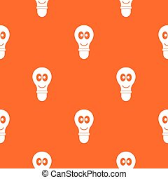 Smiling light bulb with eyes pattern seamless
