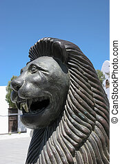 Smiling lion statue in Teguise Lanzarote