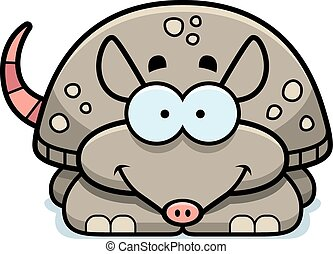 Smiling Little Armadillo - A cartoon illustration of a...