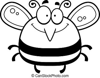 Smiling Little Bee - A cartoon illustration of a bee...