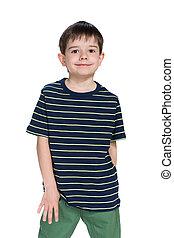 Smiling little boy against the white