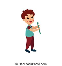 Smiling little boy character holding toothbrush, cartoon vector Illustration