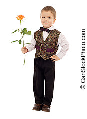 Smiling little boy gives a rose, isolated on white