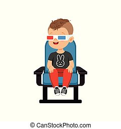Smiling little boy in 3d glasses sitting on a blue chair and...