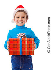 little boy in Santa's hat with gift