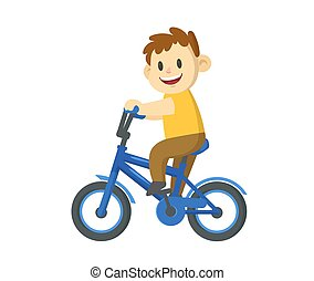 Smiling little boy riding a bicycle. Cartoon flat vector illustration, isolated on white background.