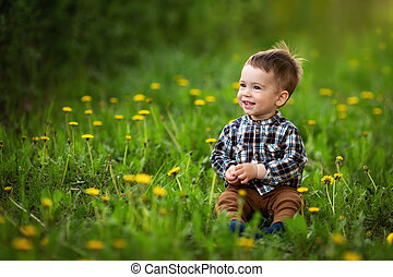 little boy sitting in the flowering dandelion field