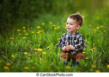 little boy sitting in the flowering dandelion field