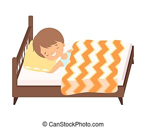 Smiling Little Boy Sleeping in His Bed under Blanket Vector Illustration