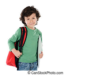 Smiling little boy with backpack