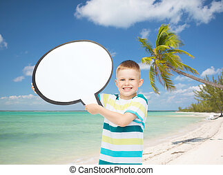 smiling little boy with blank text bubble - childhood,...