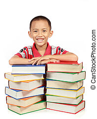 smiling little boy with his book