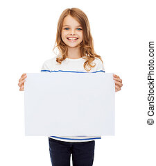 advertisement, art, children, happiness and painting concept - smiling little child holding blank white poster