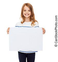smiling little child holding blank white paper -...