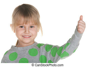 Smiling little girl holds her thumb up