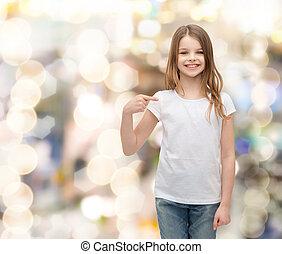 smiling little girl in blank white t-shirt