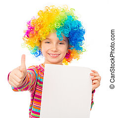little girl in clown wig