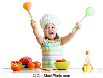 smiling little girl in cook hat with skimmer and ladle -...