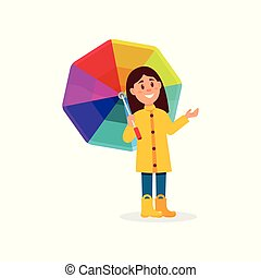 Smiling little girl in yellow raincoat standing under rainbow umbrella cartoon vector Illustration on a white background