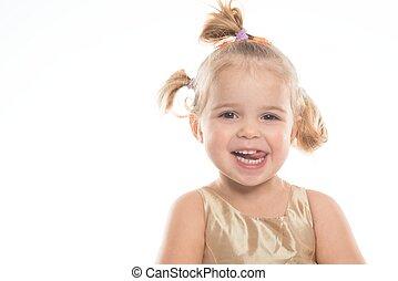 Smiling little girl isolated on white