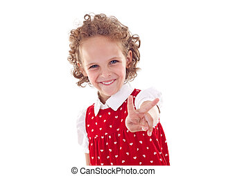 little girl making the victory gesture