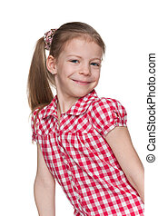 Smiling little girl on the white background