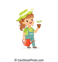 Smiling little girl standing with plant and watering can in hands. Flat kid character dressed as gardener Dream profession concept