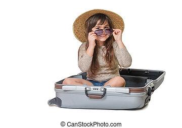 Smiling little girl tourist