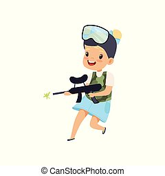 Smiling little girl wearing mask and vest aiming with gun, paintball player vector Illustration on a white background