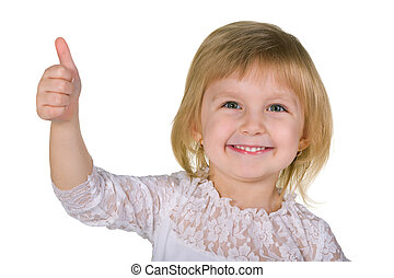 Smiling little girl with her thumb up