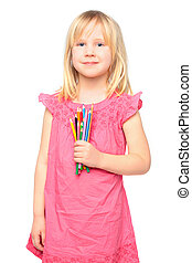 Smiling little girl with pencil
