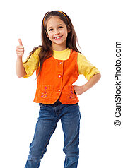 Smiling little girl with thumbs up sign