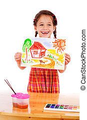 Smiling little girl with watercolor painting