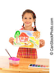 Smiling little girl with watercolor painting, isolated on white