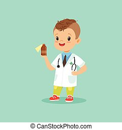 Smiling little kid in doctor s uniform and stethoscope around his neck standing with medicine bottle in hand. Flat design vector illustration