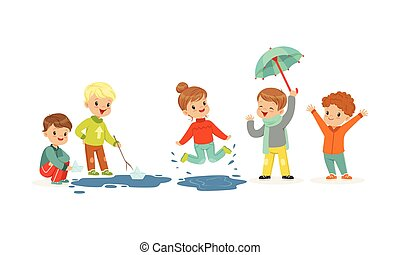 Smiling Little Kids Jumping and Sailing Toy Boats Vector Illustration