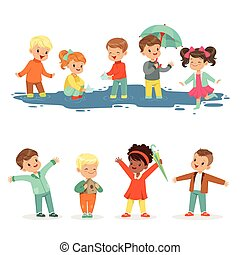 Smiling little kids playing on puddles, set for label design. Active leisure for children. Cartoon detailed colorful Illustrations