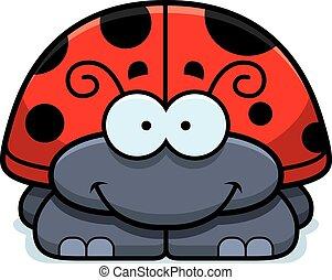 Smiling Little Ladybug - A cartoon illustration of a little...