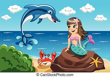 Smiling little Mermaid sitting on the rock watching jumping dolphin