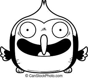 Smiling Little Woodpecker - A cartoon illustration of a...