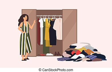 Smiling long-haired girl standing in front of opened closet with apparel hanging inside and pile of clothes on floor. Concept of minimalist capsule wardrobe. Cartoon vector illustration in flat style.