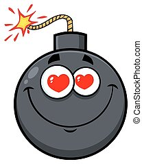 Smiling Love Bomb Face Cartoon Mascot Character With Hearts Eyes