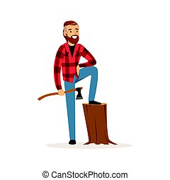 Smiling lumberjack holding an axe colorful character vector Illustration