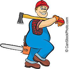smiling lumberjack - in working clothes, hard work, felling...