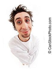 Smiling lunatic - Fish eye shot of insane man in...
