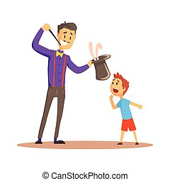 Smiling magician pulling out a rabbit from his top hat before happy boy, circus or street actor colorful cartoon detailed vector Illustration