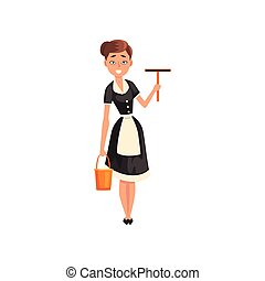 Smiling maid holding a squeegee and a bucket, housemaid character wearing classic uniform with black dress and white apron, cleaning service vector Illustration